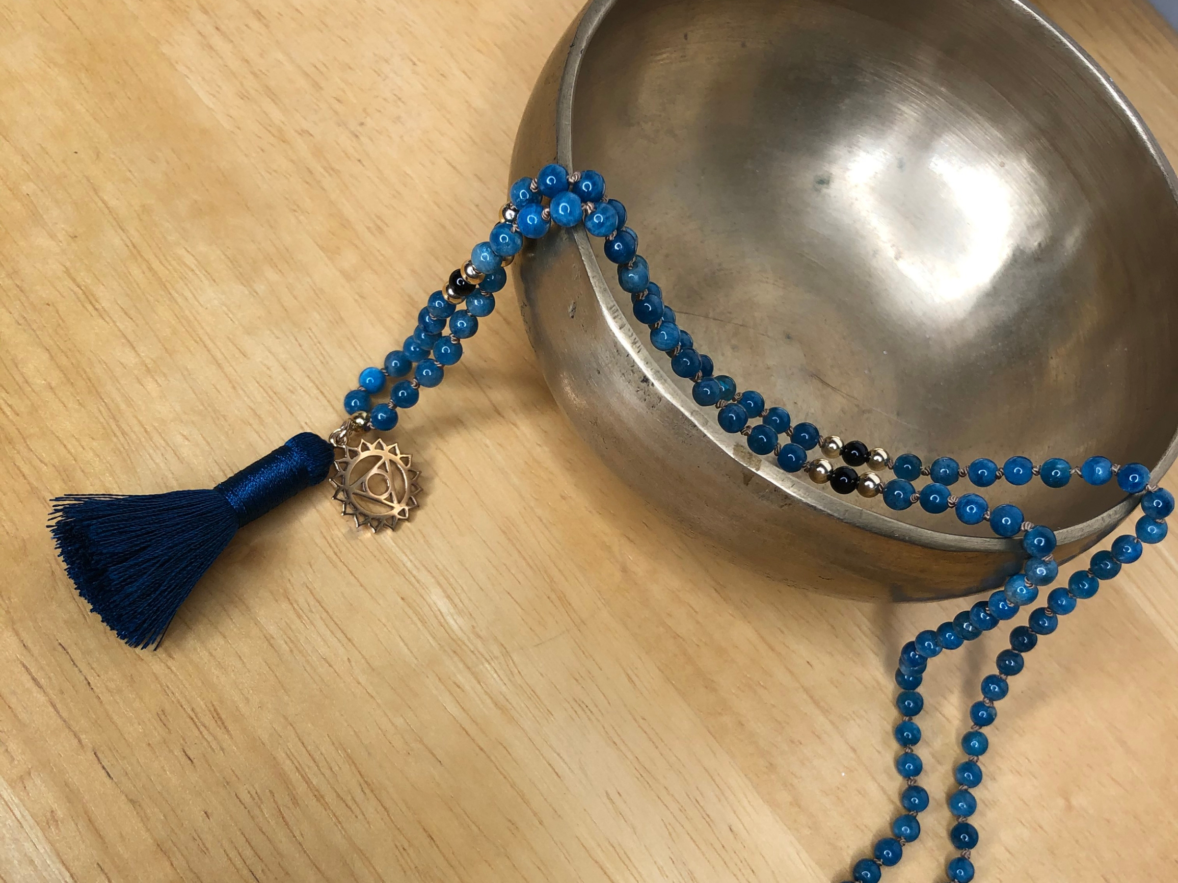 Blue apatite 108 beaded blue silk cord and silk tassel mala meditation necklace