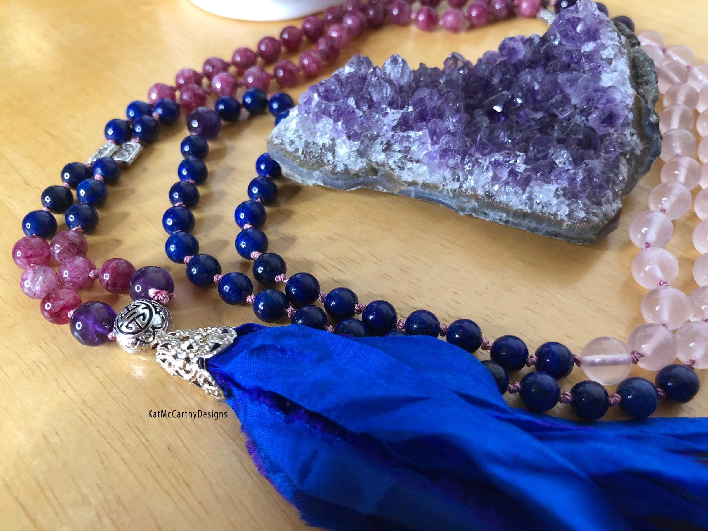 108 tibetan buddhist zen prayer bead gemstone crystal mala on silk cord with silk tassel for meditation or mantras